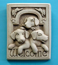 """Wall Art - """"Playful Puppies"""" Welcome Wall Sculpture - Aged Stone Finish"""