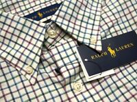 NEW $98 Polo Ralph Lauren Classic Fit Long Sleeve Shirt Mens Blue Ivory Plaid