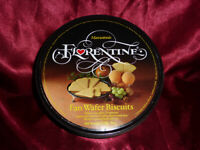 Vintage MARCANTONIO FLORENTINE Fan Wafer Biscuits TIN Confectionery Advertising