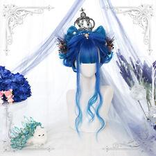 Harajuku Lolita Blue Gradient Long Curly Hair Fashion Daily Cosplay Girl Wig Cap