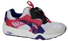 83f3eb10e0ab99 Puma Trinomic Disc Blaze White Pink Blue Mens Trainers Slip On 358135 01 P1