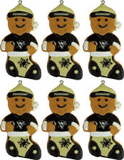 Pittsburgh Penguins Gingerbread Man in Stocking Christmas Ornament 6ct Lot