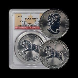 CANADA. 2016, 5 Dollars, Silver - PCGS MS69 - Predator Series, Cougar
