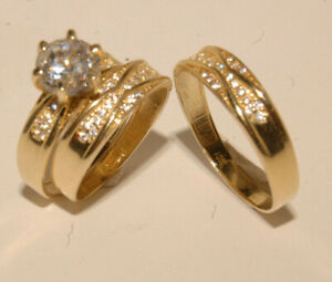 Yellow Gold Wedding Bands & Engagement ring Man's & ladies Trio Set His/Hers