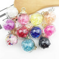 10Pcs Korean Christmas Crystal Glass Ball Charms Jewelry Earrings Necklace Decor