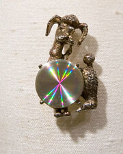 Jewelarama Refraction Poodle Pin w/ Holographic Center, Vintage Poodle Pin Alloy