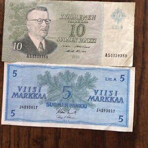 2 Finland 1963 Banknotes, 5, 10 Markkaa, Both Very Fine.