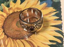 Silpada Sterling Silvr Amethyst Leaf Ring R1445 Wide Cuff Band Size 6 Rare New