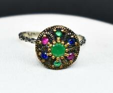 Deco 1.66ctw Emerald, Ruby & Sapphire 14k Yellow Gold / 925 Sterling Silver Ring
