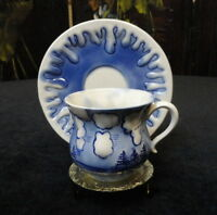 VINTAGE Hand Painted FLOW BLUE CHINA Small TEA CUP & SAUCER Trees, Water, Clouds