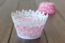 30x White flower laser cut cupcake wrapper case wedding party favour decoration