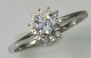 5 ct Halo Ring Top Russian Quality CZ Moissanite Simulant SS Size 9