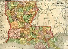Original 1895 Antique Map LOUISIANA Baton Rouge Shreveport Lafayette Kenner LA
