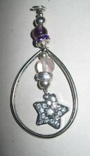 Gemstone Jewellery  pendant TEARDROP with STAR feature ROSE QUARTZ & AMETHYST