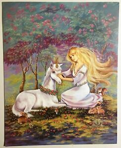 Unicorn & Maiden Poster Forest Fantasy 1990 Lithograph Print Wall Art 283-12601
