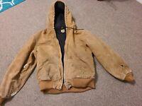 Vintage Carhartt Work Jacket Hooded Size Large Very Distressed