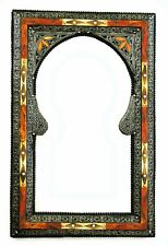 Moroccan Wall Mirror Large Authentic Home Decor Handmade Silver Orange Red Blue