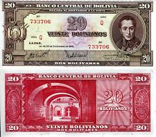 BOLIVIA 20 Bolivares Banknote World Money Currency  aUNC BILL pick p140 Note