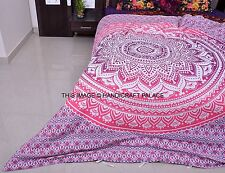 Pink Ombre Mandala Duvet Cover Indian Queen Size Quilt Cover Set Ethnic Blanket