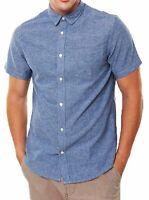Only & Sons Men's Slim Fit Short Sleeve Cotton Casual Plain Shirt Blue Tops