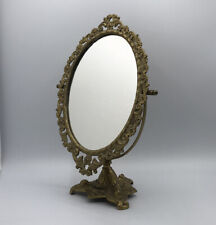 New listing Vtg Decorated Ornate Cast Metal Floral Scroll Swivel Table Top Vanity Mirror