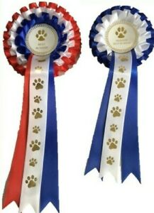 DOG SHOW ROSETTES -BEST IN SHOW & RESERVE BEST IN SHOW FREE POSTAGE*