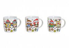 Becher Weihnachtseule 3-Set Kaffeebecher, Porzellan, 10 cm Weihnachten Waldtier