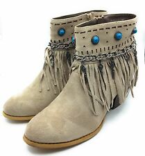 Not Rated Womens Athina Fringe Ankle Boot Taupe Faux Suede Size 9 M