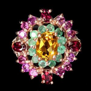 Unheated Oval Citrine Emerald Rhodolite Garnet 925 Sterling Silver Ring Size 7