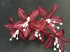 5 Wedding Prom  Shiny Burgundy Lily Flower Hair Pins Clips Gripsh handmade