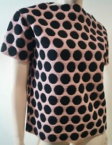 MARC JACOBS Dusky Pink & Black Fleece Wool Blend Polka Dot Short Sleeve Jumper S