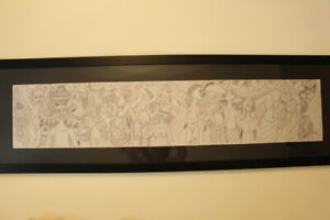"Original MALANGATANA Charcoal Pencil Drawing 150 cm paper ""Moscow"" 1981"