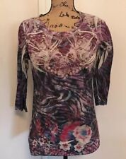 Women's Vintage Suzie Abstract Floral Top Sz S 3/4 Sleeves Studded Colorful