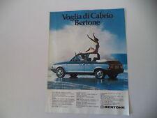 advertising Pubblicità 1984 FIAT RITMO CABRIO BERTONE