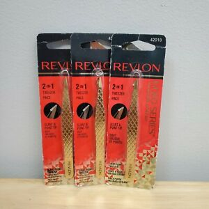 3X Revlon Gold Series 2 in 1 Tweezer Slant & Point Tip 42018