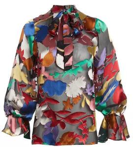 Alice + Olivia Mora Tie Meck Bell Sleeve Blouse Floral Silk Blend Size L NWOT