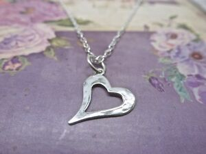 Silver Heart Necklace - Solid Sterling 925 Hammered Open Heart Cut Out Pendant