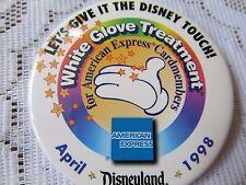 Disneyland Pin Back 1998 Disneyland White Glove Treatment  American Express VGUC