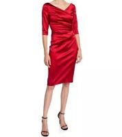 NWT Talbot Runhof Stretch Satin V-Neck Red Cocktail Dress Size 2 $1495