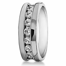 Natural 0.50 Ct Real Diamond Mens Bands Real 14K White Gold Engagement Rings