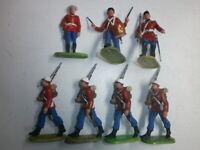 Konvolut 7 alte Elastolin Kunststoff Soldaten zu 7.5cm Engländer mit General