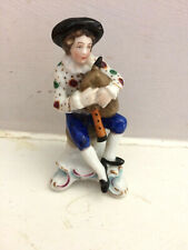 Antique Sitzendorf Porcelain Figurine of a Boy with Bagpipes