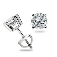 .55 Ct Round Cut Lab Diamond Stud Earrings 14k White Gold Basket Set Screw Back