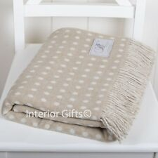 BRONTE Lambswool STUNNING BEIGE & CREAM SPOT THROW Blanket Merino Pure New Wool