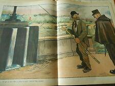 Le Pêcheur je pêche la Truite c'est de l'eau courante Humour Print 1913