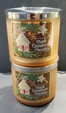 2 NEW BATH & BODY WORKS MAPLE CINNAMON PANCAKES SCENTED CANDLES 3 WICK 14.5 OZ