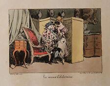 1828 Monnier Lithographie couleurs époque Béranger Vieux Célibataire bal masqué