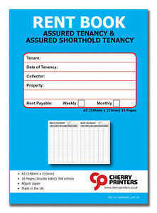 Tenants Rent Book 12page - Assured Tenancy & Shorthold Tenancy A5 Weekly/Monthly