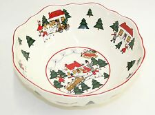 "MASONS Ironstone Porcelain Christmas Village Round Serving Bowl 10.5"" Diameter"