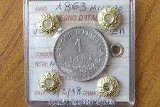REGNO D' ITALIA VITTORIO EMANUELE II 1 LIRA 1863 MILANO NC sigill BB+ SUBALPINA